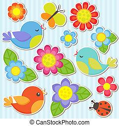 flores, jogo, pássaros