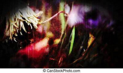 flores, mão, montagem, contrair-se
