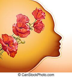 flores, mulher, jovem, bonito