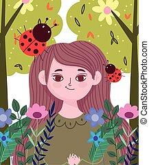 flores, mulher, natureza, foliage mola, caricatura, ladybug, árvore