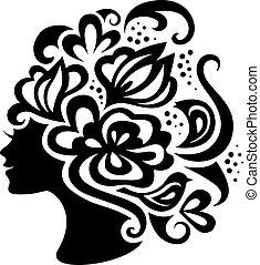 flores, mulher, silueta, bonito