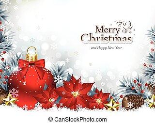 flores, ornamentos, poinsettia, fundo, natal