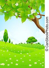 flores, paisagem verde