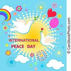 flores, papel, azeitona, tulipa, paz, saudação, corte, balões, arco íris, internacional, cartão, celebração, sol, pombas, dia, ramo