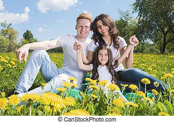 flores, prado, família