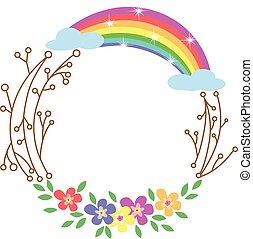 flores, redondo, quadro, arco íris, primavera