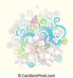 flores, scrolls, primavera, abstratos