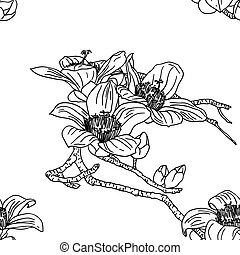 flores, seamless, papel parede, orquídea