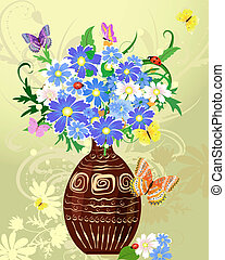 flores selvagens, vaso