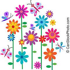 flores, springtime, borboletas
