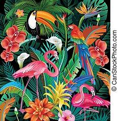 flores tropicais, pássaros, composição