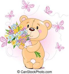 flores, urso teddy, cor-de-rosa