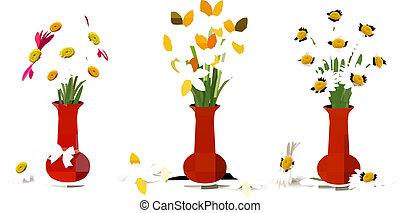flores, vasos, coloridos, primavera