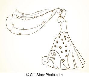 flores, vestido, véu, casório