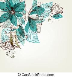 flores, vetorial, retro, ilustração