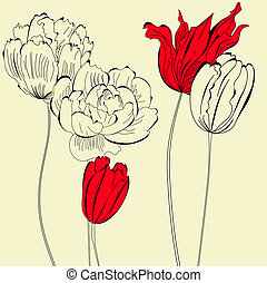 flores, vindima, fundo