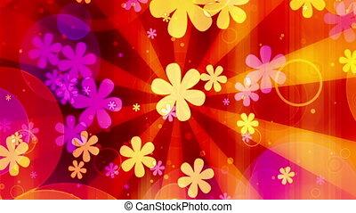 flores, volta, luminoso, retro