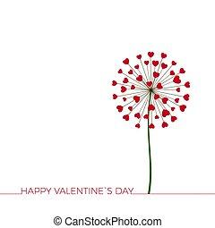 flower., parabéns, love., feliz, dia, dandelion, saudação, hearts., romance, encantador, valentineçs, card., vetorial