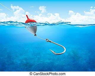 flutuador, submarinas, vertical, gancho, linha pesca