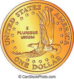 flyi, ouro, imagem, dólar, dinheiro, americano, vetorial, moeda