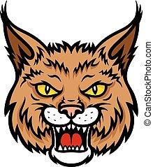 focinho, cabeça, vetorial, lynx, bobcat, mascote, ícone