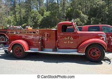 fogo, 2, caminhão, antigas