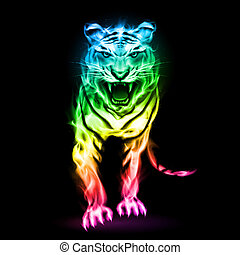 fogo, coloridos, tiger.