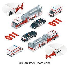 fogo, concept., carga, polícia, cidade, transporte, helicóptero, emergência, ícone, 3d, caminhão, ambulância, isometric, set., 911., apartamento, número
