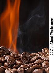 fogo, feijões café, assando, fumaça