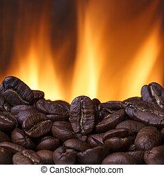 fogo, feijões café, assando, fundo