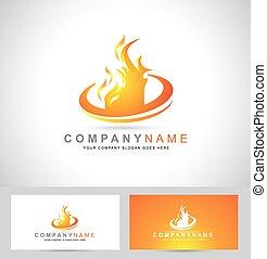 fogo, logotipo, chama
