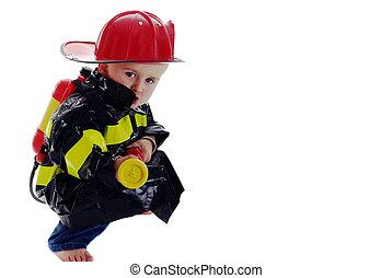 fogo, pequeno, toddler, lutador