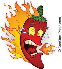 fogo, pimenta, pimentão, quentes, caricatura
