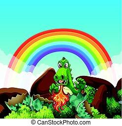 fogo, soprando, dragão verde
