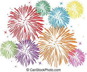 fogos artifício, coloridos
