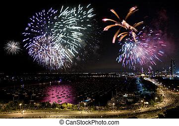 fogos artifício, dia, independência, chicago
