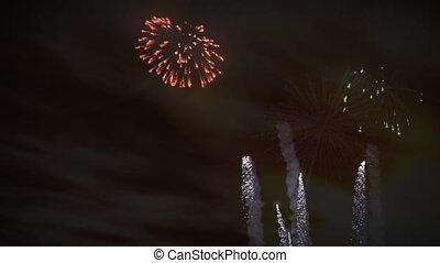 fogos artifício, pôr do sol, celebração