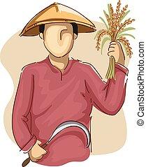 foice, homem, trigo, agricultor