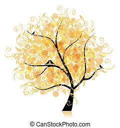 folha, arte, árvore, bonito, dourado