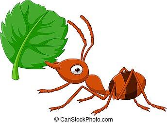 folha, formiga, caricatura, verde
