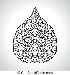 folha, isolated., macro, ilustração, vetorial, pretas, natural
