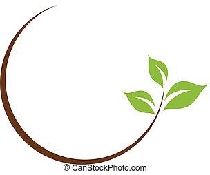 folha, logotipo, orgânica