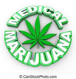 folha, médico, -, marijuana, palavras, ícone