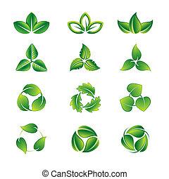 folhas, ícone, jogo, verde
