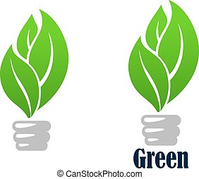 folhas, bulbo, luz verde
