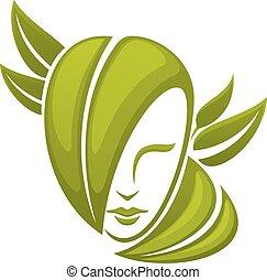 folhas, cabeça, mulher, verde