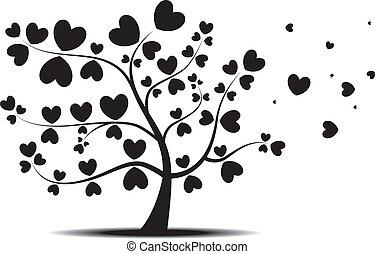 folhas, coração, amor, árvore, vermelho