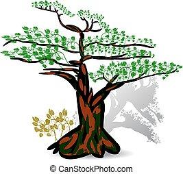folhas, exoticas, árvore, sazonal, verde, experiência., branca