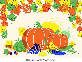 folhas, ilustração, colheita, vegetables., festival, outono