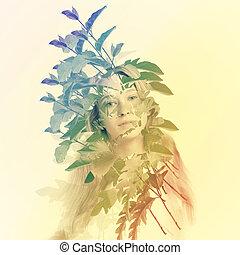 folhas, mulher, abstratos, jovem